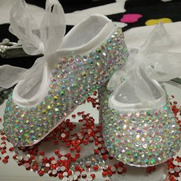 Wholesale Customized Baby Shoes - Wholesale- free shipping rhinestone Crystal Baby Girl Child shoes handmade Bling diamond First bead soft shoes customize any name birthday