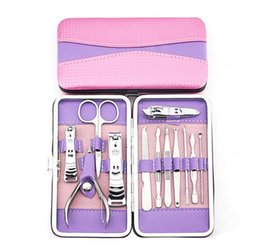 Wholesale Manicure Sets Wholesale - Wholesale Nail Clipper Kit Nail Manicure Sets New Arrival Candy Colour Scissors Tweezer Grooming Set Nail Art Kits For Her Xmas Gifts 12 pcs