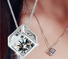 Wholesale Korean Crystal Necklaces - 925 sterling silver pendants female love cube square window Korean love silver jewelry Necklaces Valentine's Day gift
