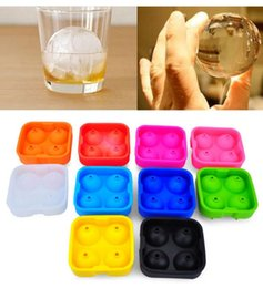 Wholesale Ice Ball Sphere Maker - 4 Balls Whiskey Ice Cube Maker MoldDrinking Wine Tray Brick Round Maker Mold Sphere Mould Party Bar Ice Moldes 10 color 100pcs KKA1563