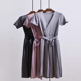 Wholesale Dresses Jumper Skirt Sexy - Dress Flash short sleeves deep V collar long belt dress 2017 Knitted sexy pleated skirt Dresses Sarafan jumper maxi dress TG6023