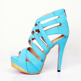 Wholesale Womens Toe Covers - Kolnoo Womens Fashion High Heel Gladiator Straps Sandals 14.5cm Heels Open Toe Shoes Cut-out Decoration Party Shoes Blue XD248