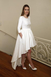 Wholesale High Low Designer Dresses - Modest 2017 High Low Wedding Dresses With 3 4 Long Sleeves Jewel Neck Short Front Long Back Simple Designer Delphine Manivet Bridal Gowns