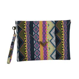 Wholesale Bohemian Purses - Wholesale-Fashion Women Envelope Clutch Handbag Purses Canvas Tote Handbag Geometric Pattern Bohemian Lady Embroided National Evening Bag