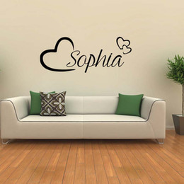 Wholesale Personalised Decals - For Personalised Name Wall Art Love Hearts Removable Vinyl Decal Sticker Girls Room Bedroom Decorate Diy