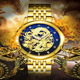 Wholesale Solid Gold Wrist Watches - classic charm golden wrist watch men Solid Dragon Engraving stainless steel Automatic mechanical mens designer watches brand luxury gift box