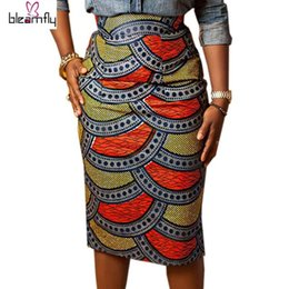 Wholesale Empire Style Knee Length - Pencil skirt women 2017 Summer Style Multicolor Skirts Ladies African Print Skirt High Waist Knee-Length Bodycon Vintage Saia