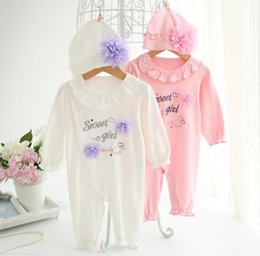 Wholesale Girls Lace Flower Clothing Set - Newborn Clothing Sets Baby Girls Lace Flower Rompers Hats Princess Infant Jumpsuit long sleeve Flower Romper KKA3095