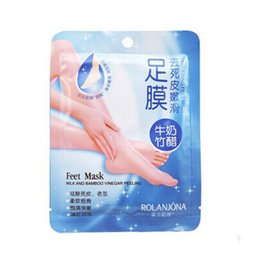 Wholesale Detox Foot Care - 2016 New Rolanjona Milk Bamboo Vinegar Feet Mask Peeling Exfoliating Dead Skin Remove Professional Feet sox Mask Foot Care