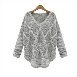 Wholesale Blue Womens Sweater - Wholesale- Shenzhen BEST Seller Women Sweater Casual Loose Style Thin Sweater Coat Blue Green Gray Color Womens Pullovers Sweater