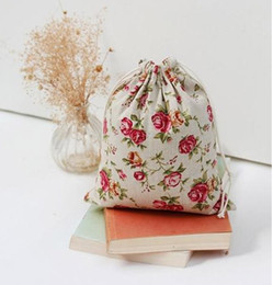 Wholesale Wholesale Linen Makeup Bags - Rose Cotton Linen Gift Bags 8x10cm 9x12cm 10x15cm pack of 50 Birthday Party Wedding Favor Holders Makeup Jewelry Drawstring Pouch