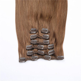 """Wholesale Blonde 28inch - 100g Full Head Silky Straight Remy Clip in hair extension Black Brown Blonde optional 18""""-28inch"""