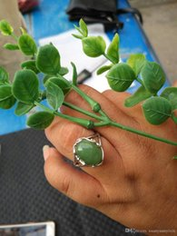 Wholesale Tian Rings - New high-end custom jewelry and natural Tian Biyu RING 925 Silver Inlay Ring Nvjie spinach green jade