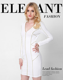 Wholesale Elegant Dresses Online - Women Elegant V-Neck Dress Career Online Cheap Wear to Work Casual Fitted Sheath Bodycon Fashion Office OL Dress White Long Sleeve DRSL669