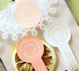 Wholesale Diy Party Favor Cake - Wholesale- 96pcs Lollipop shape HAND MADE mousse cup candy cake box adhesive sticker DIY packaging label Sealing Wedding Party Decoration