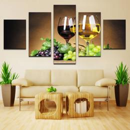 2019 billige kunstfarbe Dekoration 5 stück Wein tassen bilder leinwand ölgemälde auf wandkunst für wohnzimmer print decor billige moderne (keine rahmen) günstig billige kunstfarbe