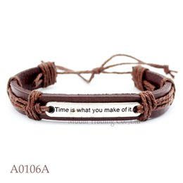 Wholesale Make Leather Cuff Bracelets - TIME IS WHAT YOU MAKE OF IT CHARM Adjustable Leather Cuff Bracelets Friendship Bangle Casual Wristband Wish Bracelet