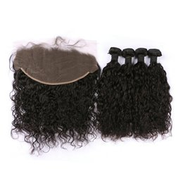 Wholesale Peruvian Wavy Lace Closure - Indian Water Wave Virgin Hair With Lace Frontal Closure 13X6 Bleached Knots Wet And Wavy Lace Frontal With Bundles G-EASY
