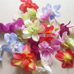 Wholesale Silk Flower Heads Inch - head 100pcs Orchid flower heads 7.6cm 3 inch Butterfly Orchid Phalaenopsis Artificial Fabric Chrysanthemum s Flower Head