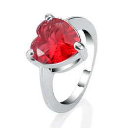 Wholesale Red Topaz - Wedding Ring Sterling Silver Love Heart Topaz Peridot Amethyst Garnet Sparkle Gemstone Eternity Ring Size 7 8 BJZ60208