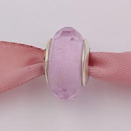 Pandora gold murano online-Authentische 925 Sterling Silber Perlen Pink Shimmer Murano Charm passt europäischen Pandora Style Schmuck Armbänder Halskette 791650