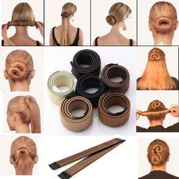 Wholesale Foam Bendy Rollers - New Fashion Girl Hair DIY Styling Donut Former Foam French Twist Magic Tools Bun Maker+Gift Hot