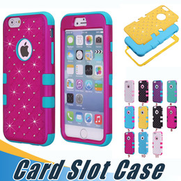 Wholesale Luxury Iphone 5c Cases - Luxury 3 in 1 Bling Diamond Dual Color Rhinestone Case Hybrid Armor Shockproof Hard Silicone Gel Case For Iphone 7 Plus 6 6S SE 5 5S 5C