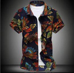 Wholesale Men Dress Shirts New Style - 2017 New Men shirts floral shirt new style short sleeve men slim fit brand-clothing hawaiian t-shirts men social dress shirts M-5XL