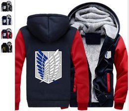 Wholesale Black Legion - Wholesale 00 USA size Attack on Titan Survey Legion Coat Zipper Hoodie Winter Fleece Unise