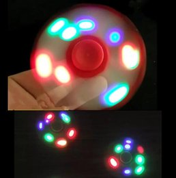 Wholesale Spinning Dhl - DHL LED Light Hand Spinners Fidget Spinner Top Quality Triangle Finger Spinning Top Colorful Decompression Fingers Tip Tops Spinner Toys