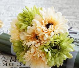 Wholesale Blue Gerbera - High Class Euro Style 7 Heads Gerbera chrysanthemum Bouquet Wedding Occasion Bride Bunch Artificial Rainbow Daisy Flower for Table Vase