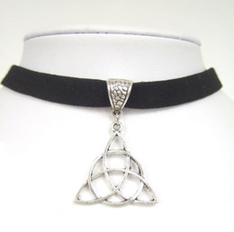"""Wholesale Celtic Pendant Silver Knot - 100pcs lot Black Flat Faux Suede Cord Keltic Knot Triquetra Trinity Charm 13"""" Choker Necklace Adjustable"""