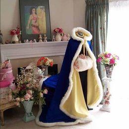 Wholesale Cheap Puple Dresses - 2017 costumed Bridal Capes royal blue Wedding Jacket Faux Fur Perfect For Winter Wedding Dress Swing Coat Cheap
