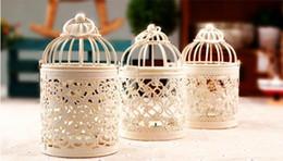 castiçais de pilar de vidro Desconto Castiçal do casamento da gaiola de pássaro dos titulares da vela da decoração da gaiola de pássaro