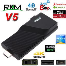 Wholesale Android Dongle Quad - 4K Android 4.4 Mini PC RKM V5 Rockchip RK3288 Quad Core 2G 16G Smart TV Box H.265 Bluetooth Dongle Dual Wifi Goolge Play Store IPTV