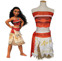 Wholesale Kids Pc Sets - Moana dress cosplay 3 pcs sets suit kids movie Moana princess dress cosplay costume skirt christmas Halloween party clothes B001