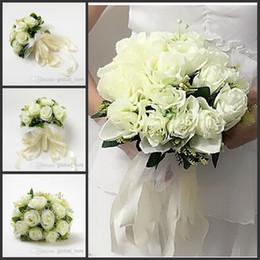 Wholesale Sell Wedding Bouquets - 2017 New Bridal Wedding Bouquets Wedding Bouquet Flowers 2015 Best selling Beautiful Elegant Round Shape Satin Wedding Bouquet