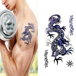 Wholesale Tattoo Arm Dragons - Wholesale- Waterproof Temporary dragon tattoo totem for wrist arm chest, men blue dragon totem personality fake tattoo stickers AX12