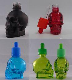 Wholesale Essential Oil Glass Dropper - 1 piece start 30ml Skull shaped E Shisha Glass e-Liquid juice Dropper Bottle Fragrance Perfumes Refillable Bottles essential oil Containers