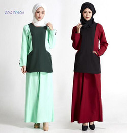 Wholesale Wholesale Robes For Women - Abaya turkish double layer linen women Muslim Dress pocket twinset Islamic gown for women robe Dubai dress gown D196