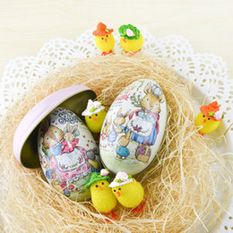 Wholesale Easter Candy Tin - Large Peter Rabbit Easter Egg Iron Receive Box Candy Storage Box Wedding Favor Tin Box Cable Organizer Container 8pcs lot 11.3x6.8x7cm