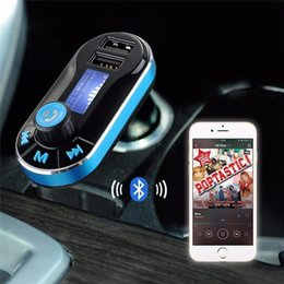 Wholesale Sample Mobile Phones - BT66 Bluetooth Car kit one peice sample FM transmitter 2.1A Dual USB Car Charger BT66 MP3 Player Car Kit for Mobile phone