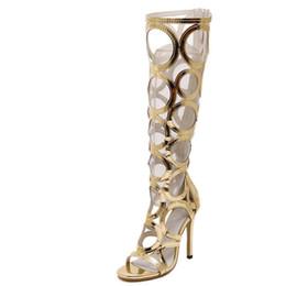 Wholesale Vogue Tie - Wholesale-Vogue Gladiator Gold Sandals Knee High Cool Boots Women Cut-outs 11cm High Heel Sandals Woman Shoes Evening Party Tacones