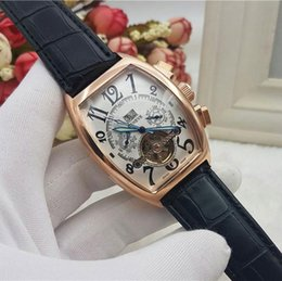 Wholesale Oval Display - New Luxury Men's Brand Designer Watches Mechanical Automatic Golden Bezel Big Size Watch Numerals Dial Month Week Date Display Leather Strap