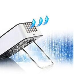 Wholesale Usb Mini Air Conditioner - 1400 mAh Mini Portable Rechargeable Hand Held Air Conditioner Summer Cooler Handheld USB Charging Fan 20pcs lot