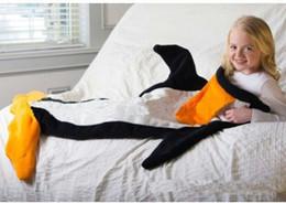 Wholesale Cartoon Penguin Bags - Baby sleeping bag Kids penguin Sleeping Bags Winter Warm Blanket cartoon Shark mermaid's tail Sleeping Bag Baby Romper Blankets 120*96CM
