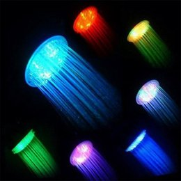 Wholesale Color Lighted Shower Heads - 7 Color Changing Colorful Led Shower Head Romantic Lights Water Home Bath Led Shower Light Head Romantic Lights