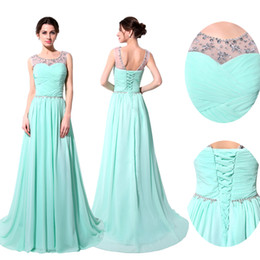 Wholesale Quinceanera Dresses Stock - IN STOCK Prom Evening Dresses 2016 Occasion Dress A-Line Sheer Neck Crystal Pink Blue White Black Red Mint Beaded Long Formal Party Gowns