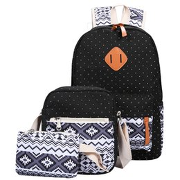 laptop american girl Promo Codes - Wholesale- 3 PC Set Stylish Canvas Printing Backpack Women School Bags for Teenage Girls Cute Bookbags Laptop Backpacks Female Bagpack Sac
