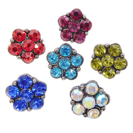 Wholesale 12mm Black Crystal Beads - B066 Noosa 6 Crystal Star Flower Chunks 12mm Mini Ginger Snap Button Jewelry for Noosa DIY Bracelets
